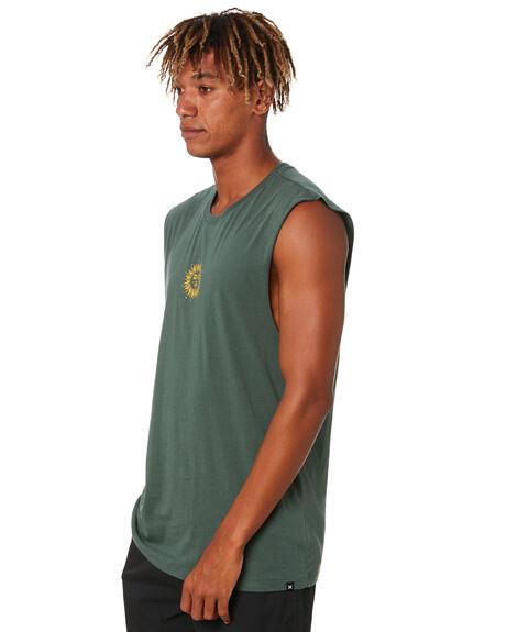 VINTAGE GREEN MENS CLOTHING HURLEY SINGLETS - DA2967345