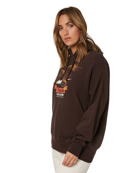 POSTAL BROWN WOMENS CLOTHING THRILLS HOODIES + SWEATS - WTH21-213CPBRN