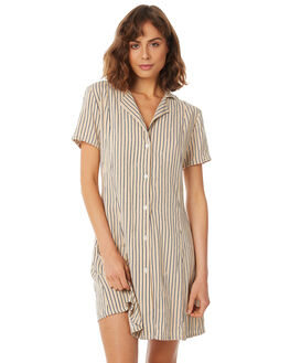 NEW SAND STRIPE WOMENS CLOTHING RUE STIIC DRESSES - SA18-18-NS-P-STR