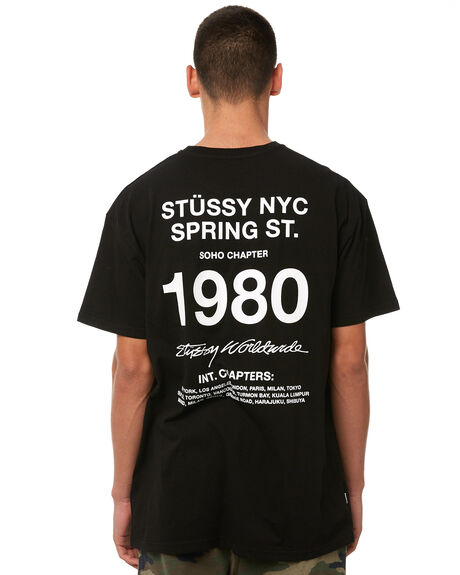 BLACK MENS CLOTHING STUSSY TEES - ST086003BLK