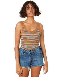 TOBACCO STRIPE WOMENS CLOTHING THRILLS SINGLETS - WTR8-109JZTOB