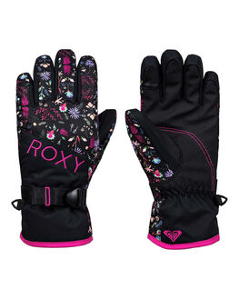 TRUE BLACK FLOWERS BOARDSPORTS SNOW ROXY GLOVES - ERGHN03018-KVM2