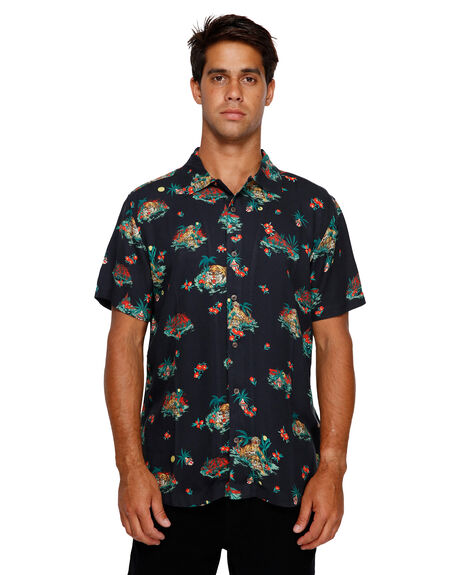 BLACK MENS CLOTHING RVCA SHIRTS - RV-R391192-BLK