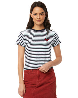 BLUE STRIPE WOMENS CLOTHING ALL ABOUT EVE TEES - 6413055STR