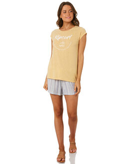 LIGHT YELLOW WOMENS CLOTHING RIP CURL TEES - GTEXD14094