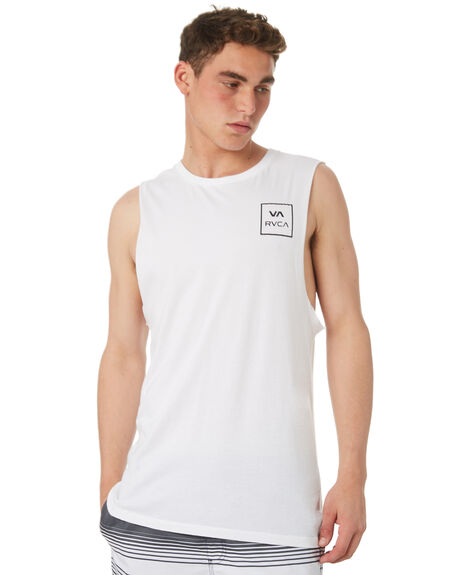 WHITE MENS CLOTHING RVCA SINGLETS - R151012WHT