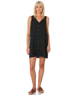 WASHED BLACK WOMENS CLOTHING THRILLS DRESSES - WTH9-906BBLACK