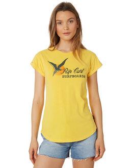 LIGHT YELLOW WOMENS CLOTHING RIP CURL TEES - GTEZN14094