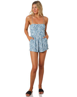 DESERT FLORAL BLUE WOMENS CLOTHING RUE STIIC PLAYSUITS + OVERALLS - RWS-19-25-4DSRTB