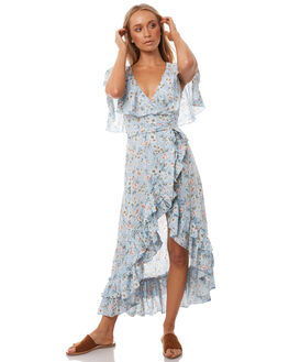 BLUE FLORAL WOMENS CLOTHING WILDE WILLOW DRESSES - K348BLUFL