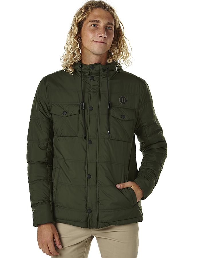 CARBON GREEN MENS CLOTHING HURLEY JACKETS - MJK00016003LC ... - Hurley Offshore Mens Parka Jacket - Carbon Green SurfStitch