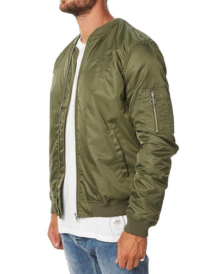 Stussy Luxe Bomber Mens Jacket - Military | SurfStitch | SurfStitch