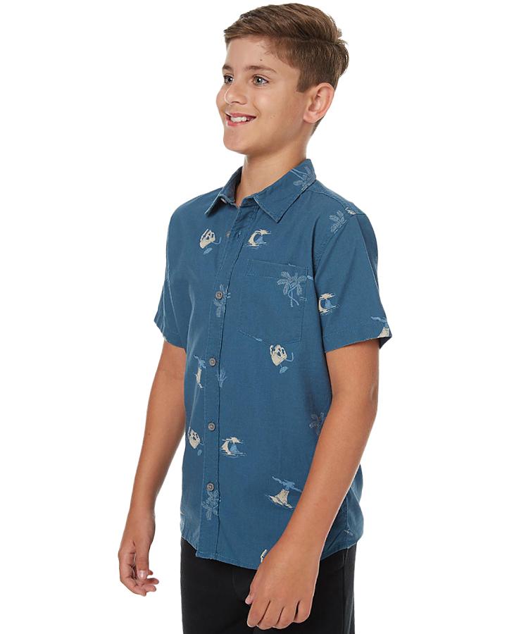 Quiksilver kids boys spinning island ss shirt spinning for Dark denim toddler shirt