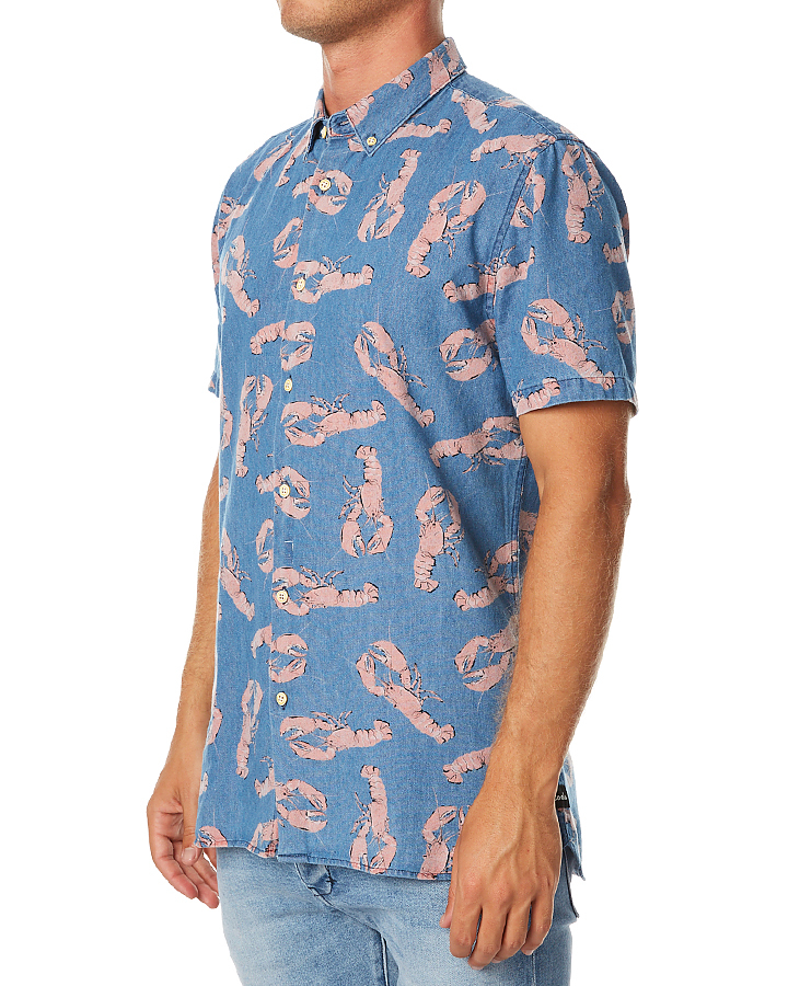 Barney cools button up ss mens shirt denim lobster for Jean button up shirt mens
