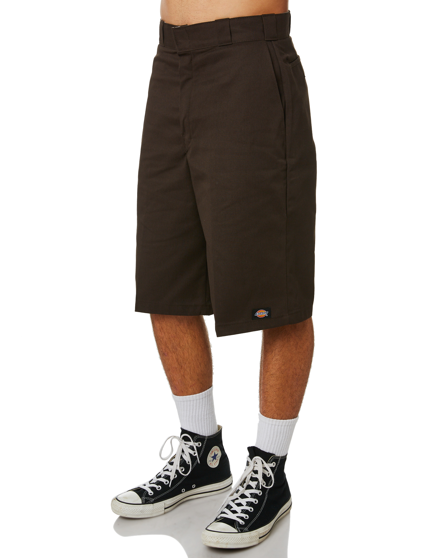 Dickies 13 inch multi pocket workshort dark brown for Black brown mens shirts