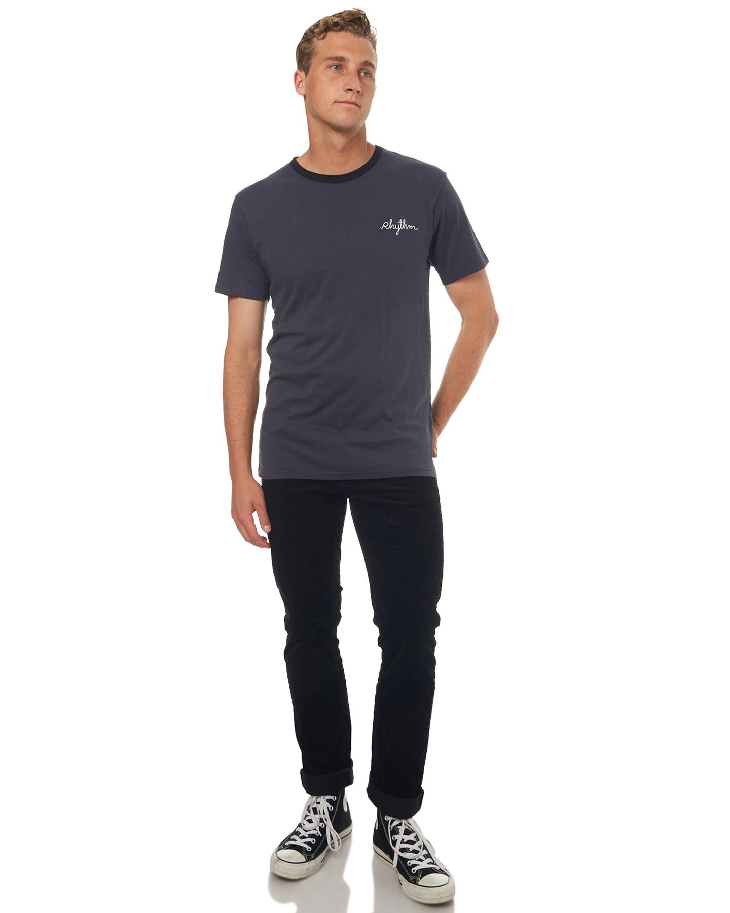 Rhythm Ringer Mens T Shirt Black Surfstitch