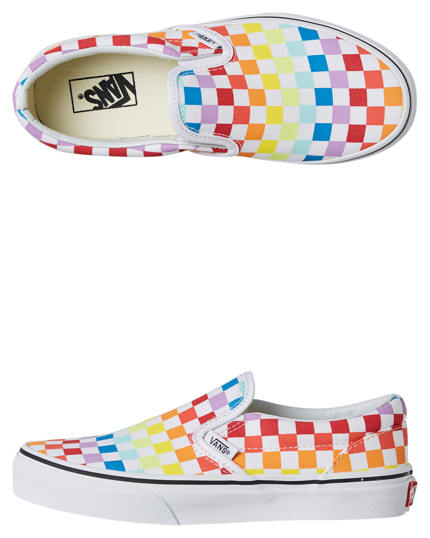 e15c60e3c62 Vans Classic Slip On Girls Shoe - Checkerboard Rainbow