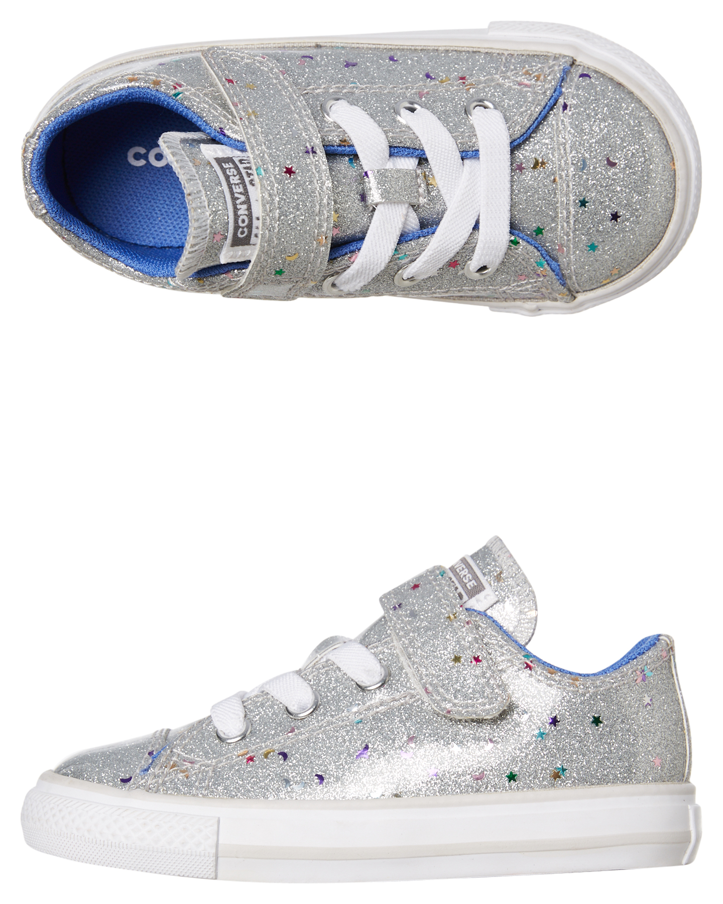 SILVER CONVERSE Girls Chuck Taylor All Star Low Sneaker