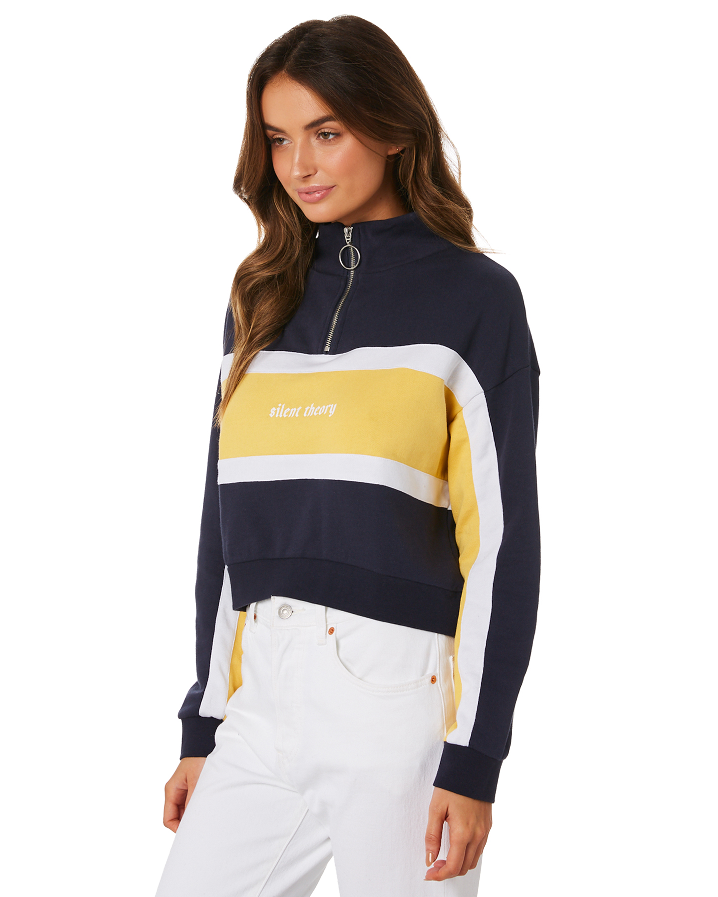 e5cc2238be Silent Theory Womens Selected Quarter Zip Crew - Navy | SurfStitch