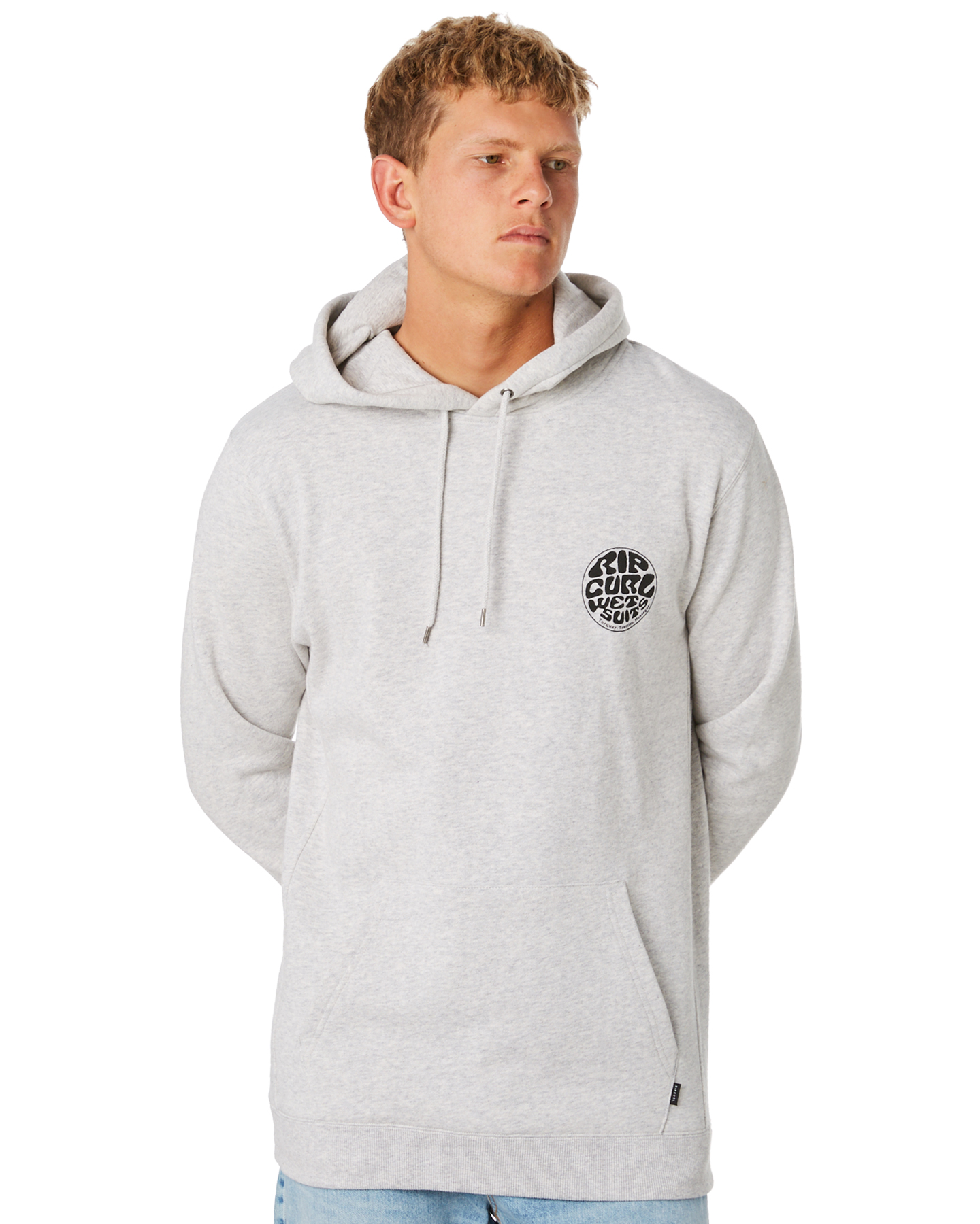 0633535704 Rip Curl Mono Wetty Mens Hoodie - Light Grey Marle | SurfStitch