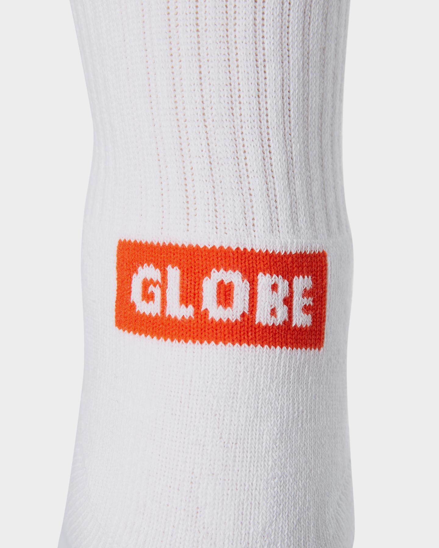 Globe Mens Socks 5 Pairs Minibar Crew White