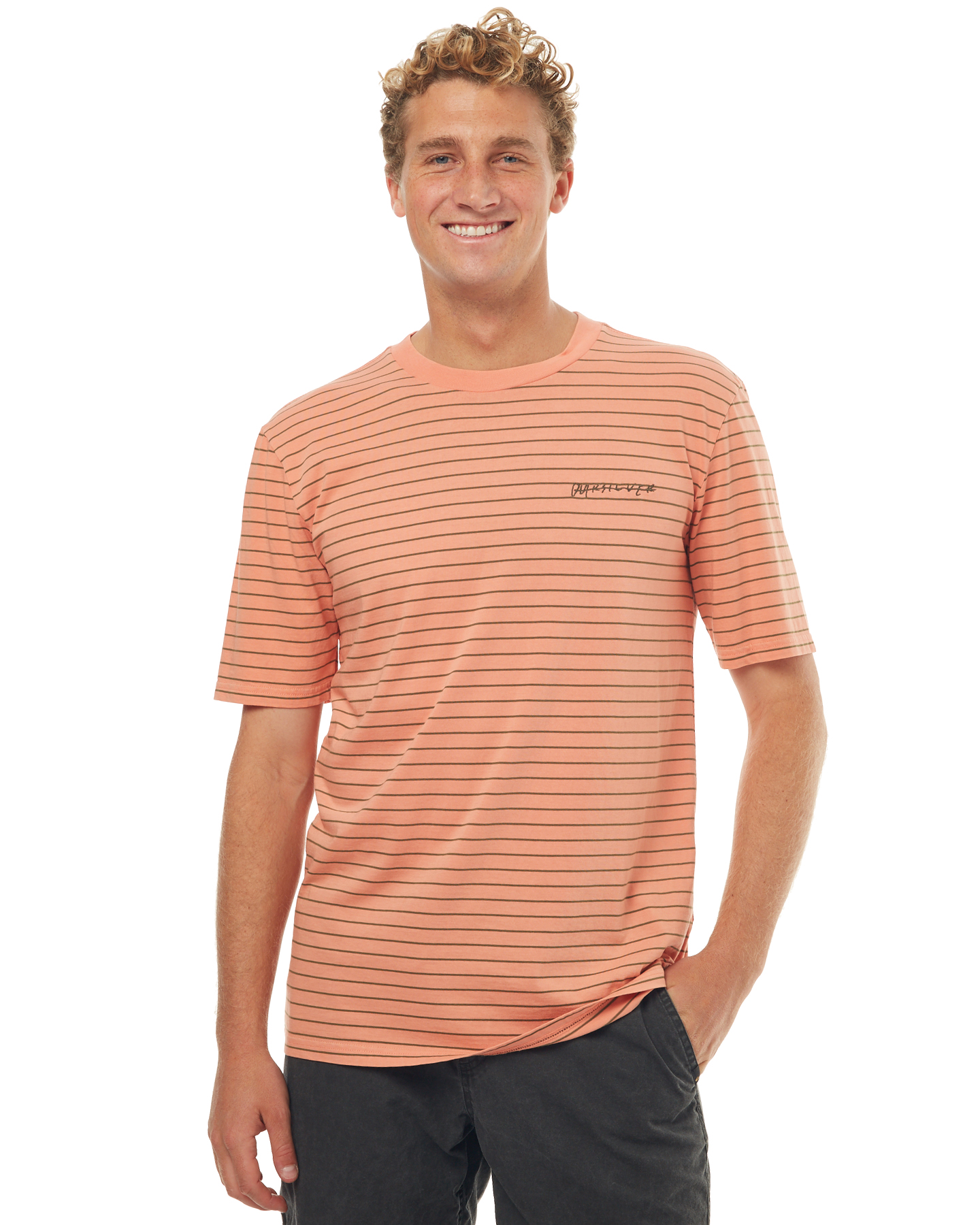 Quiksilver mens lazy laguna stripe t shirt burnt coral for Coral shirts for guys