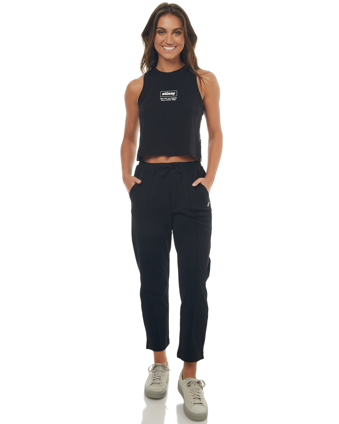stussy womens wharfie trackpant black surfstitch