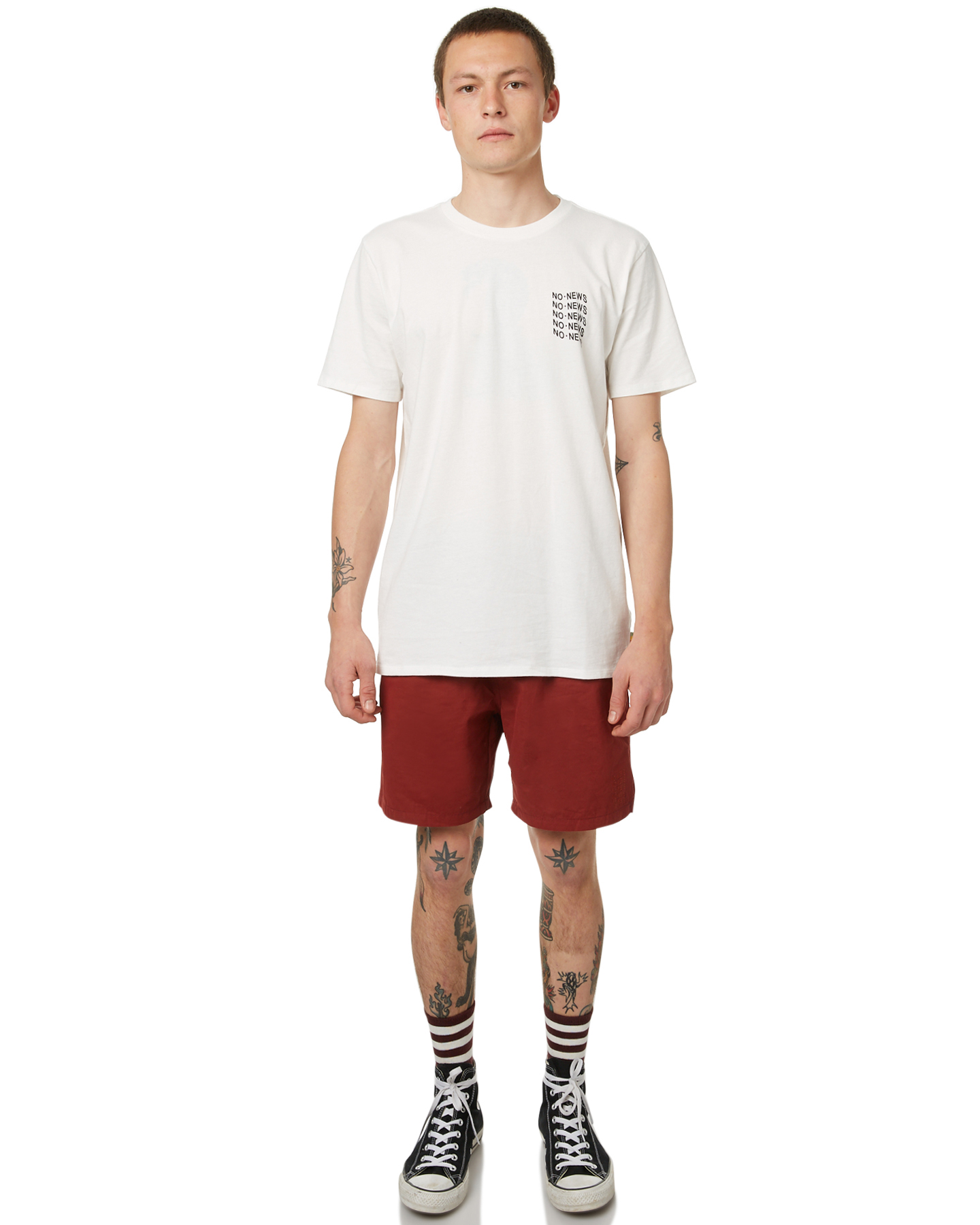 Not Clothing But Makeup Is Just As Important To Finish A: No News Feeling Lucky Mens Tee - Not White